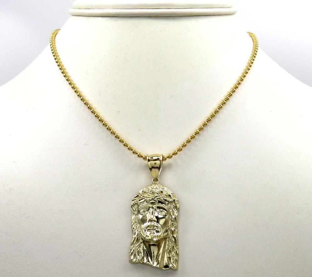 10k yellow gold medium classic jesus face pendant