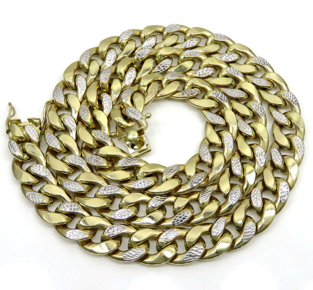 10k yellow gold thick reversible two tone miami chain 26 inch 12.50mm