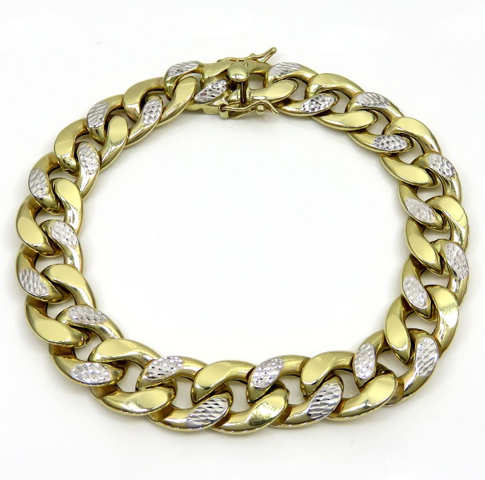 10k yellow gold one sided diamond cut two tone cuban bracelet 9 inch 12.50mm