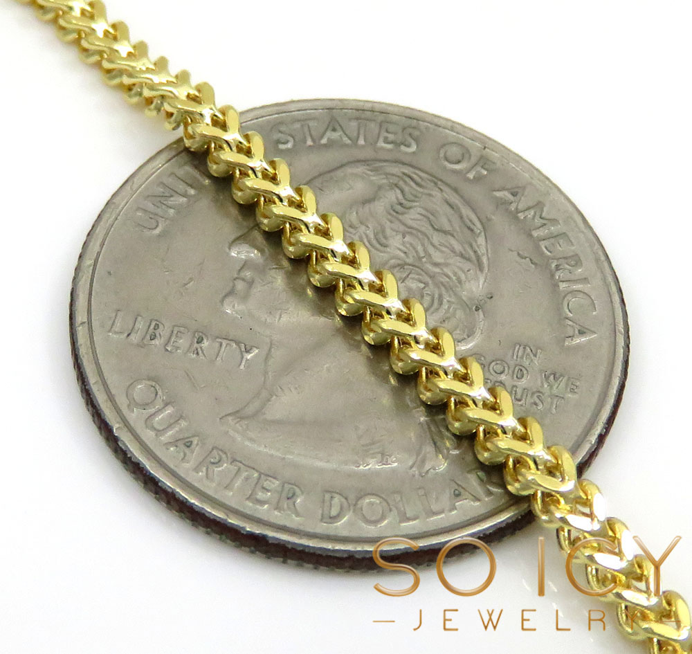14k gold hollow box franco chain 18-30 inch 2mm