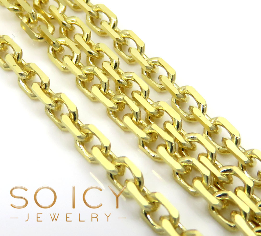 10k yellow gold solid cable chain 24-30 inch 2.20mm