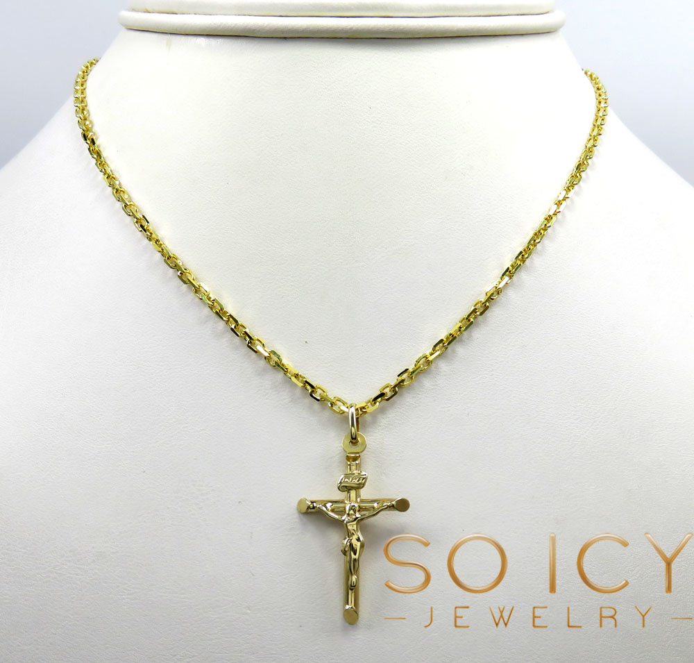 14k yellow gold mini jesus tube cross pendant