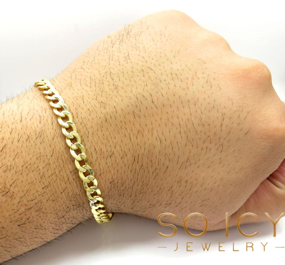10k yellow gold cuban bracelet 8.50 inch 6.5mm