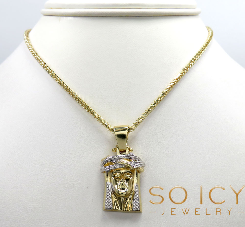 10k two tone gold caged back jesus face pendant