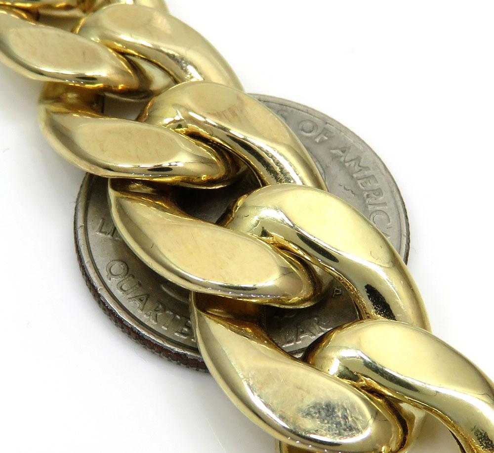 10k yellow gold hollow cuban bracelet 9 inch 15.50mm