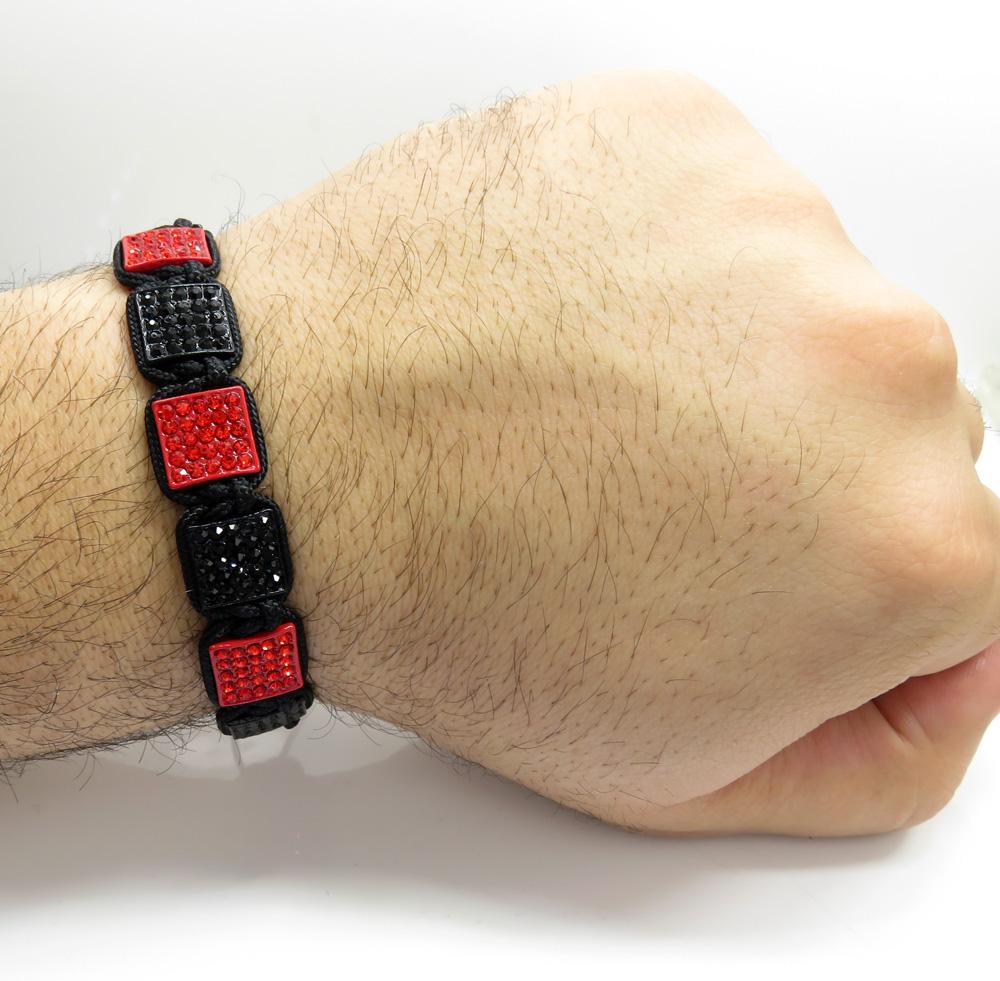 Red and black rhinestone macramé square bead rope bracelet 11.00ct
