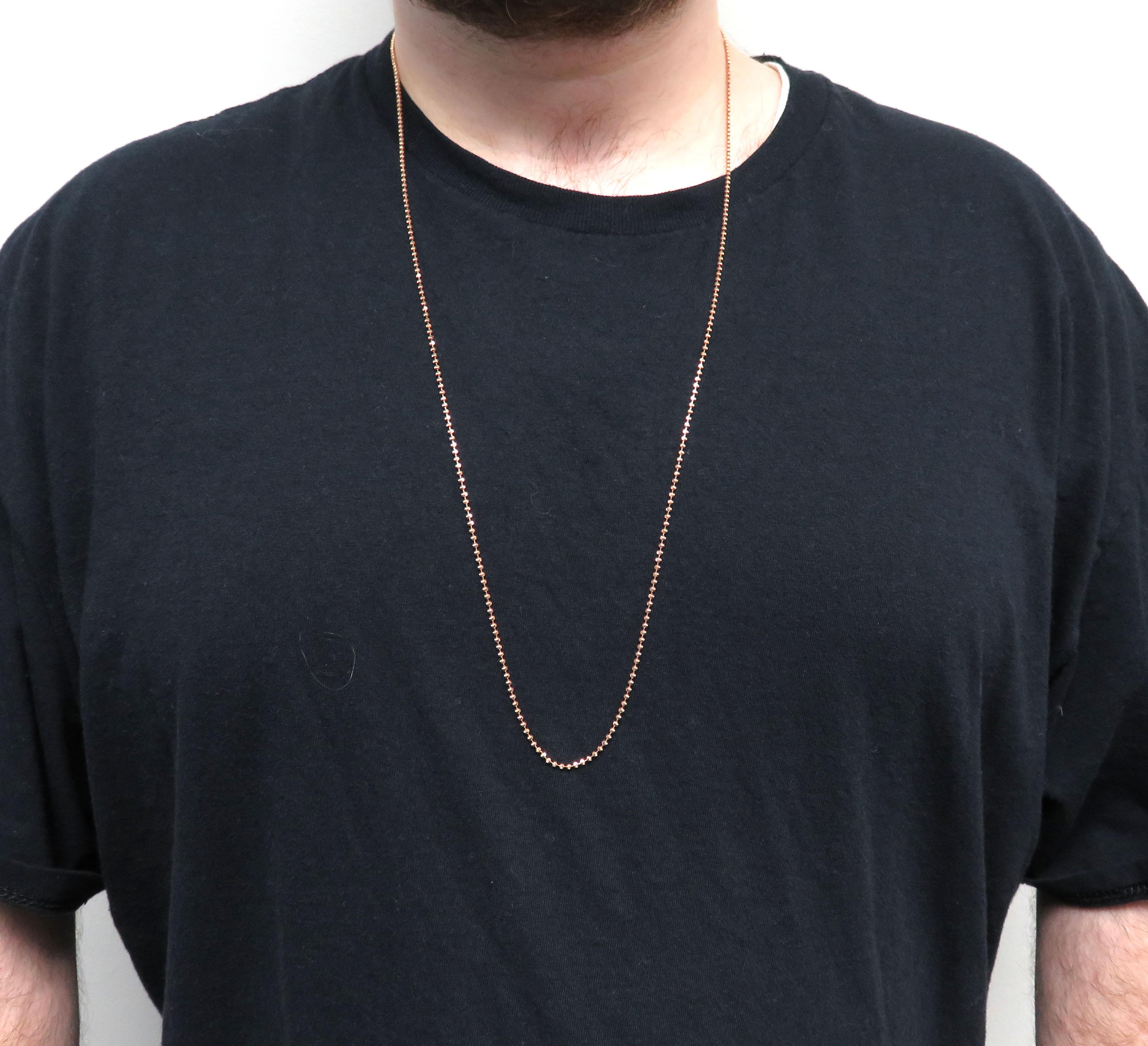 14k rose gold diamond cut skinny bead chain 1.8mm 26-32