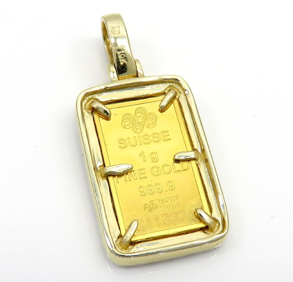 Suisse 24k gold mini bar diamond pendant 0.70ct
