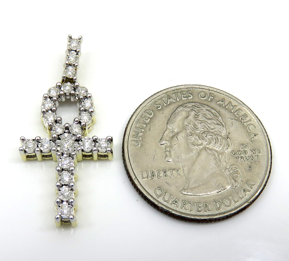 10k yellow gold diamond ankh cross 0.37ct