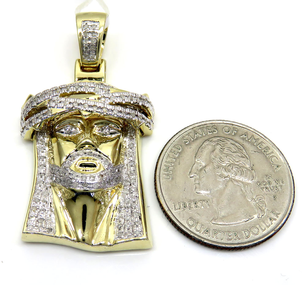 10k yellow gold medium diamond jesus piece pendant 0.90ct