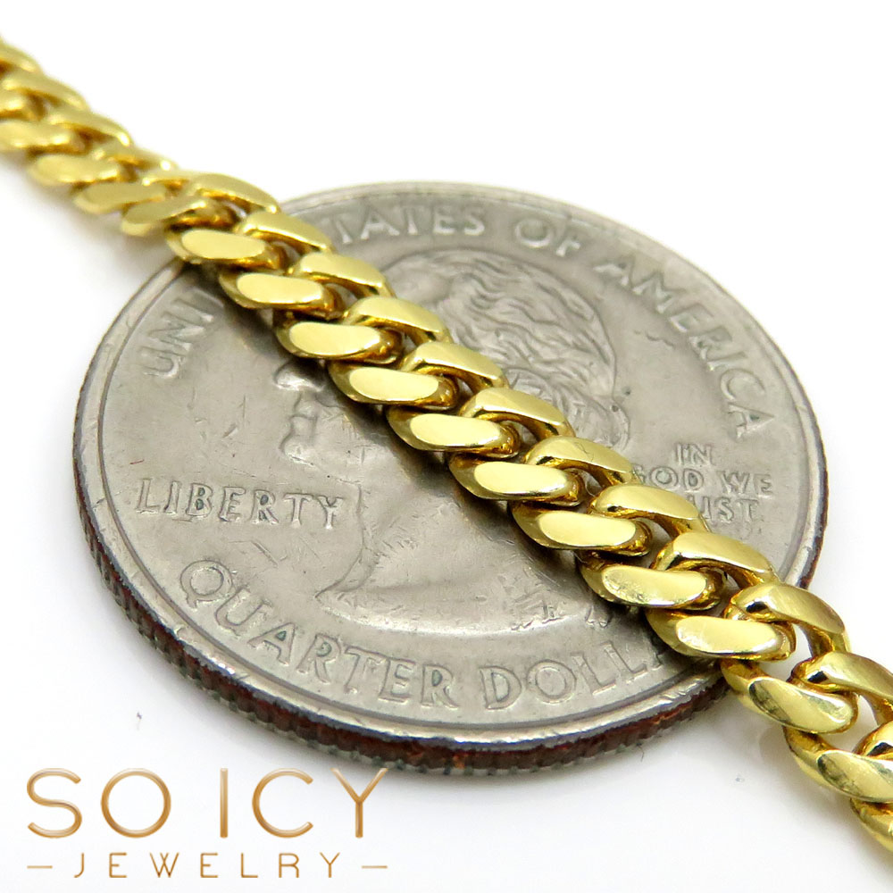 10k yellow gold solid tight link miami chain 32 inch 4.50mm