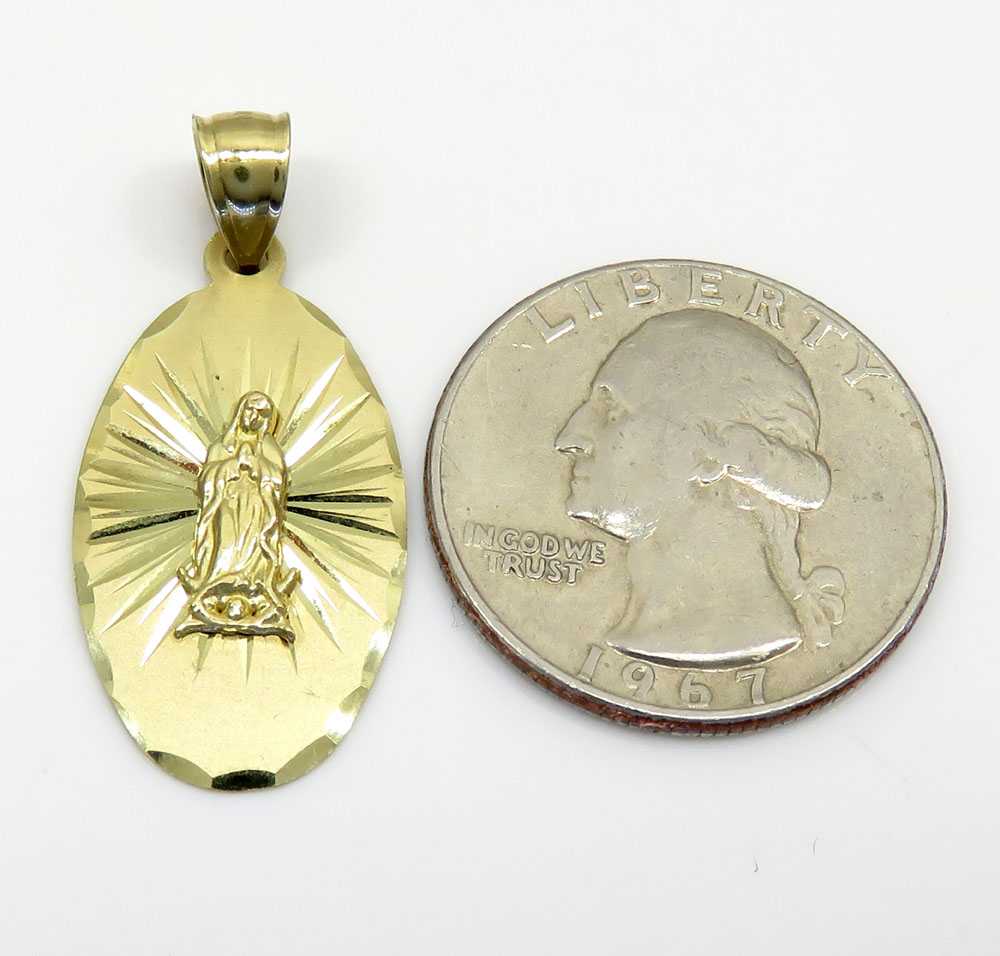 14k yellow gold virgin mary oval pendant