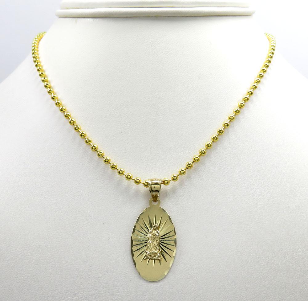 14k yellow gold virgin mary oval pendant