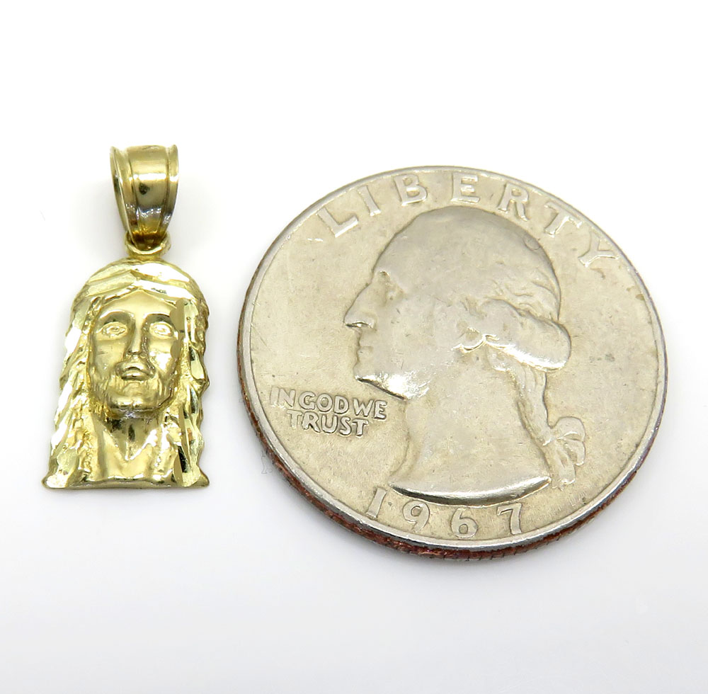 10k yellow gold mini jesus piece pendant