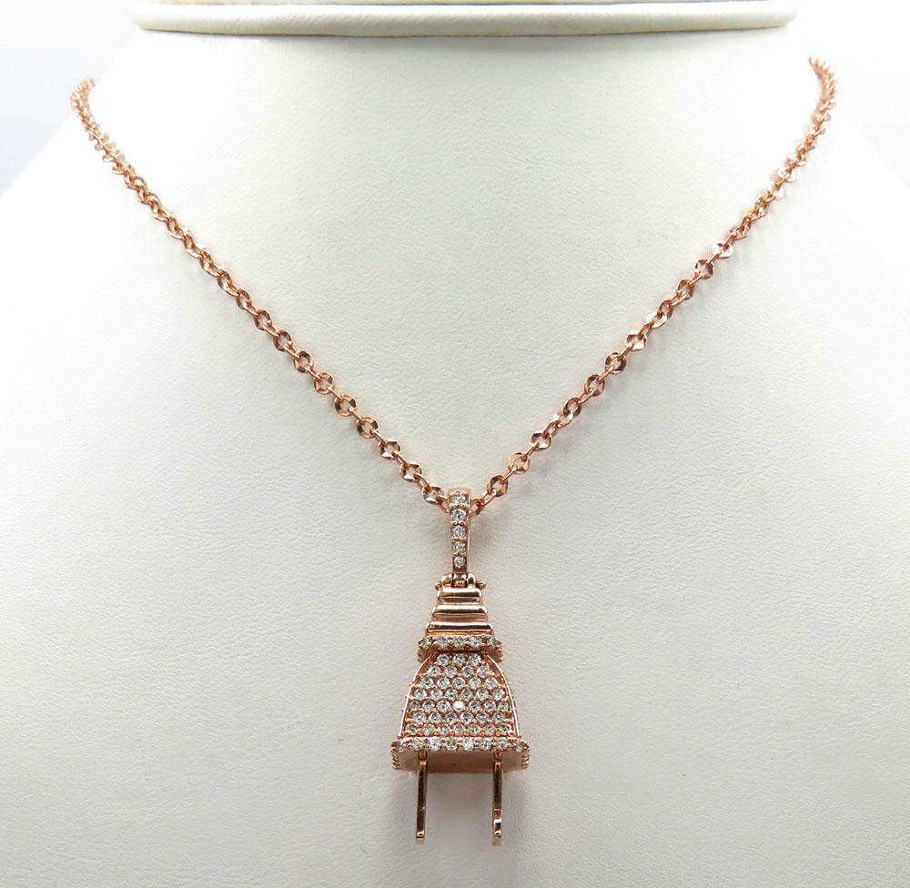 14k solid gold diamond medium plug pendant 1.50ct