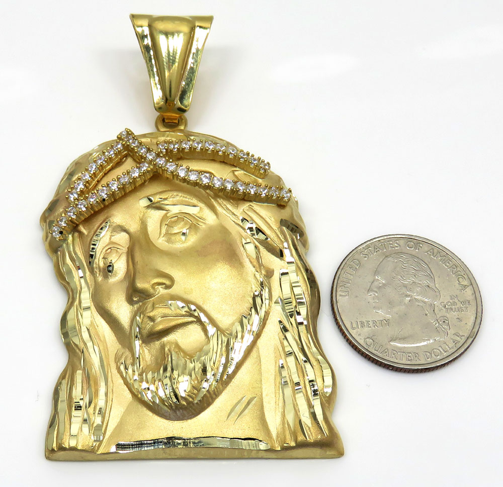 10k yellow gold large jesus face solid back pendant .45ct