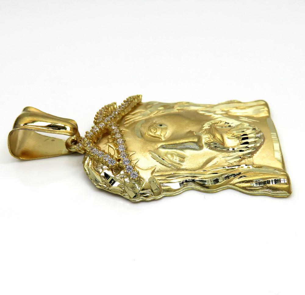 10k yellow gold medium jesus face solid back pendant .40ct