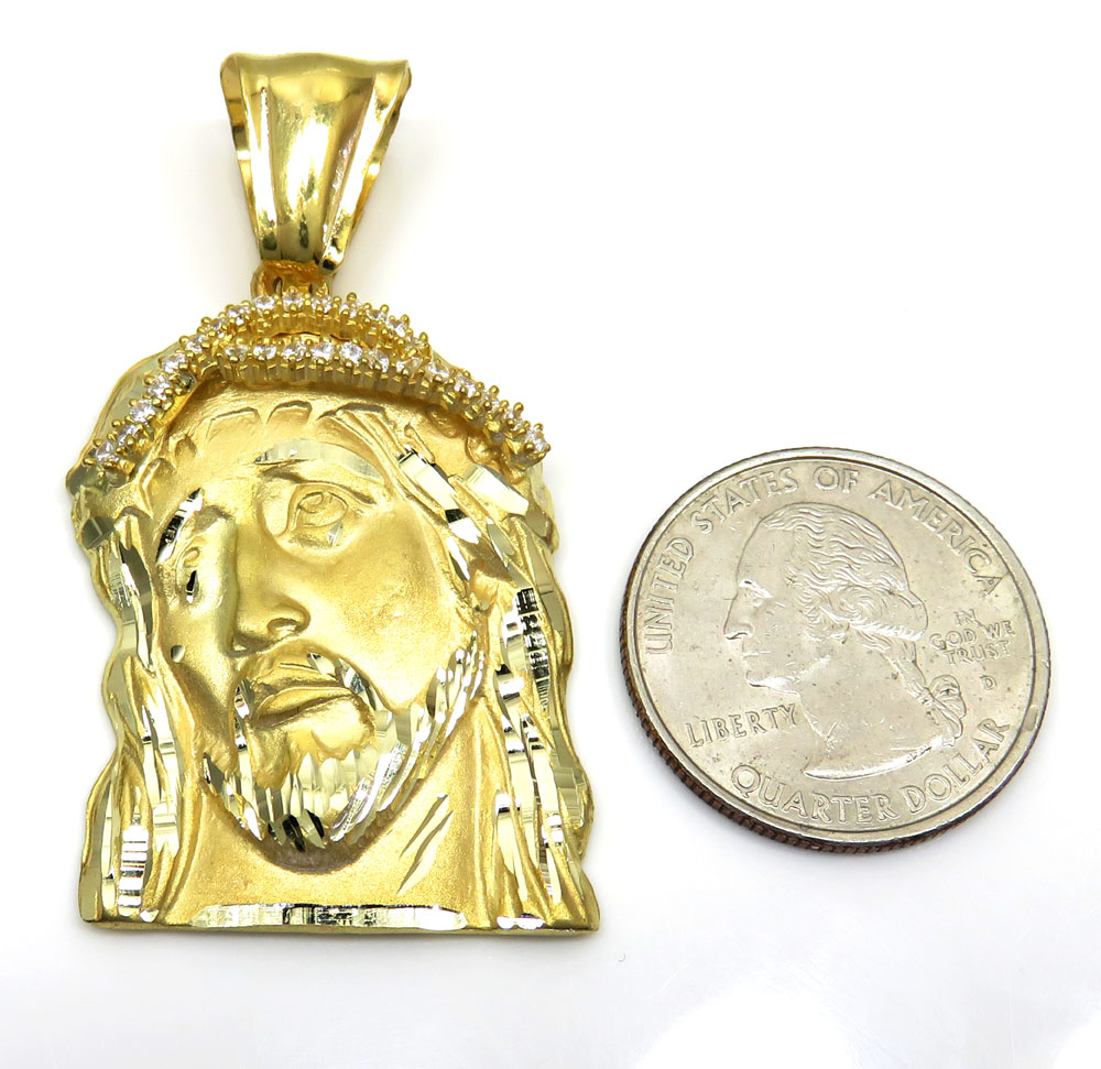 10k yellow gold mid-size jesus face solid back pendant .35ct