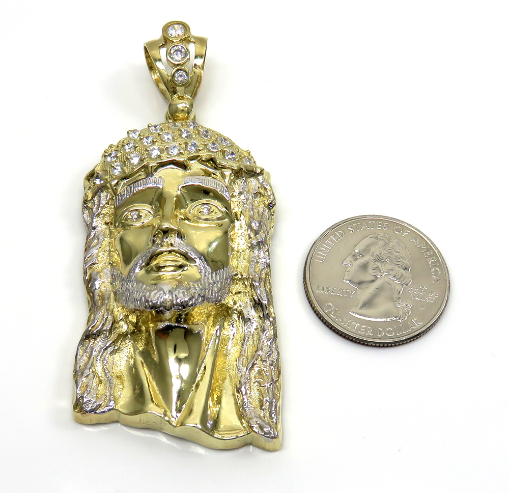 10k yellow gold medium classic open back two tone jesus piece pendant 0.40ct