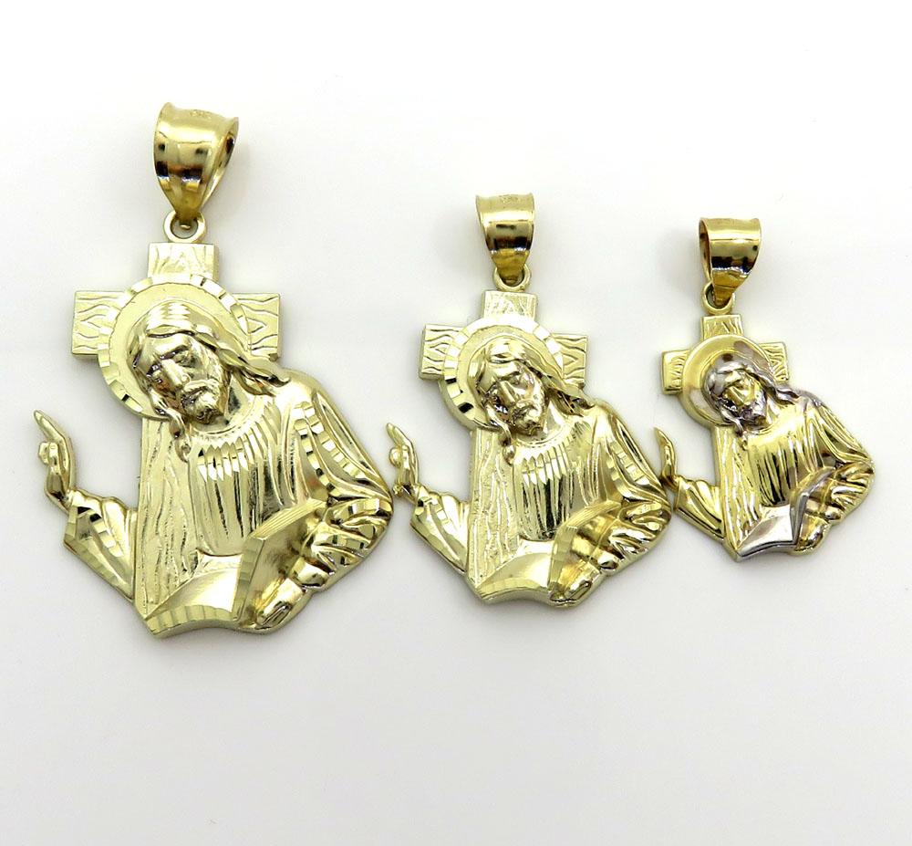 10k yellow gold jesus carrying cross large pendant