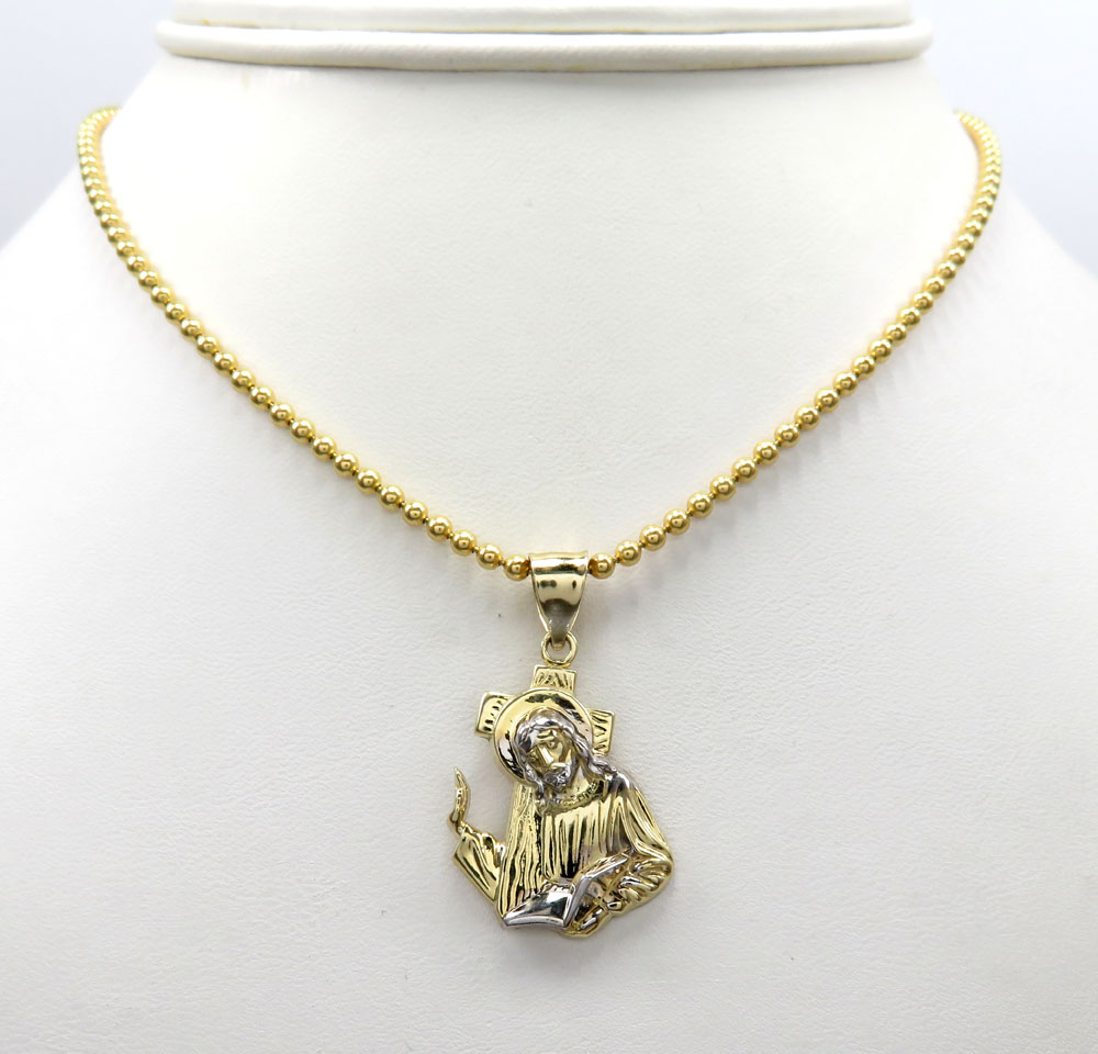 10k gold two tone jesus carrying cross small pendant