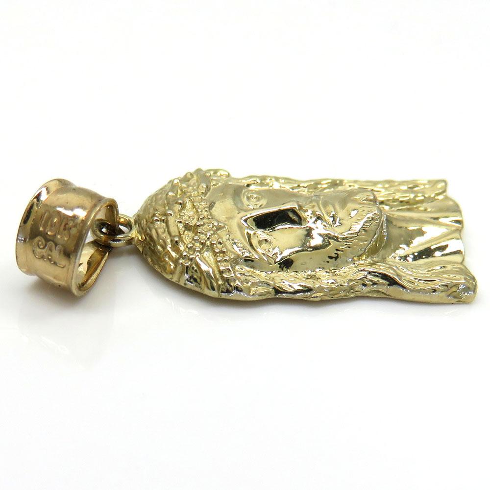 10k yellow gold micro classic jesus face pendant