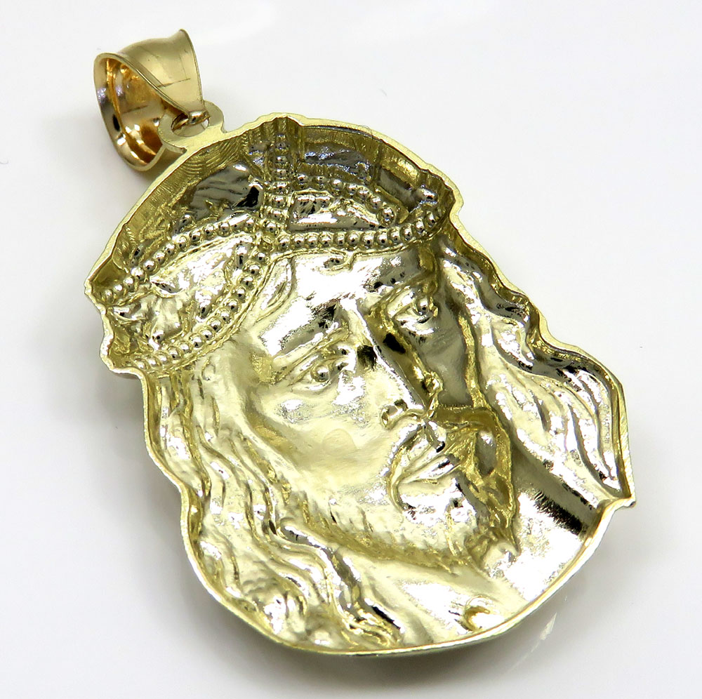 10k yellow gold side face large jesus pendant