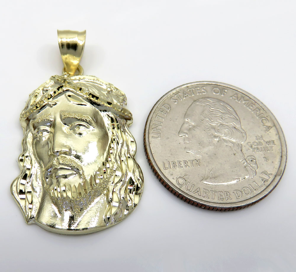 10k yellow gold side face medium jesus pendant