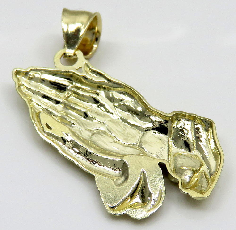 10k yellow gold small praying hands pendant