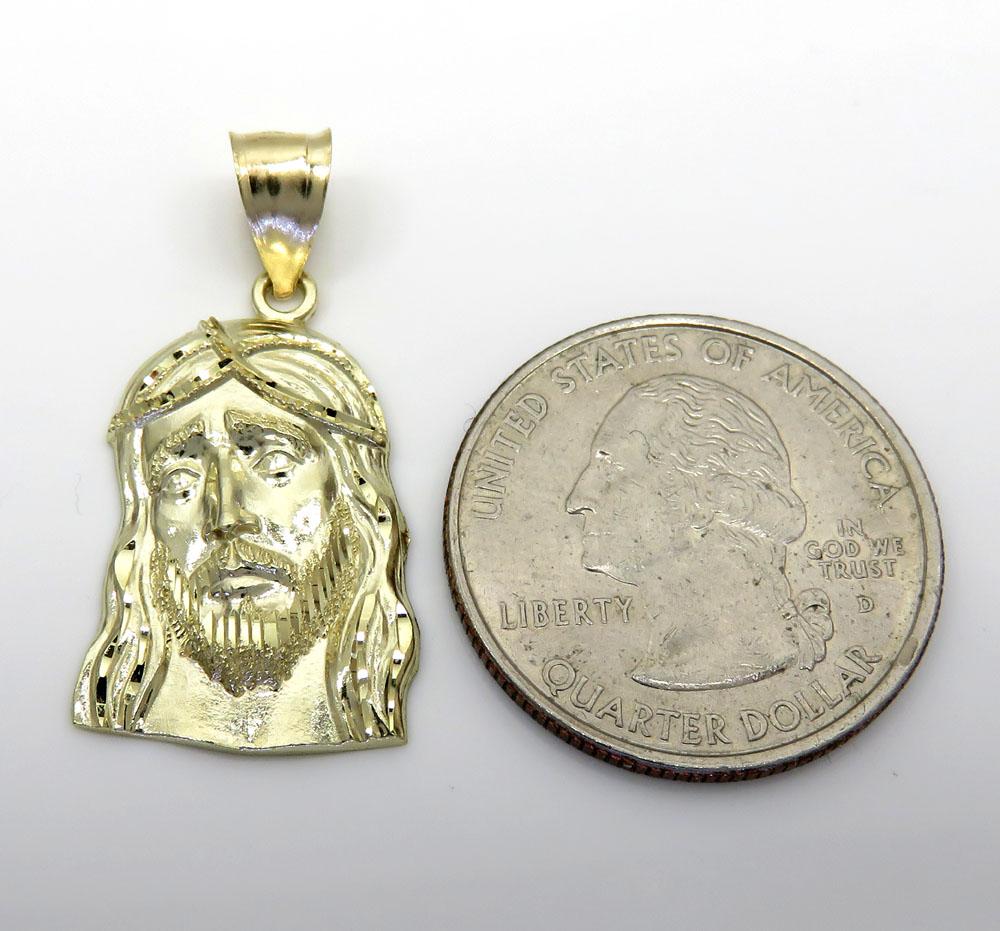 10k yellow gold small long face jesus pendant
