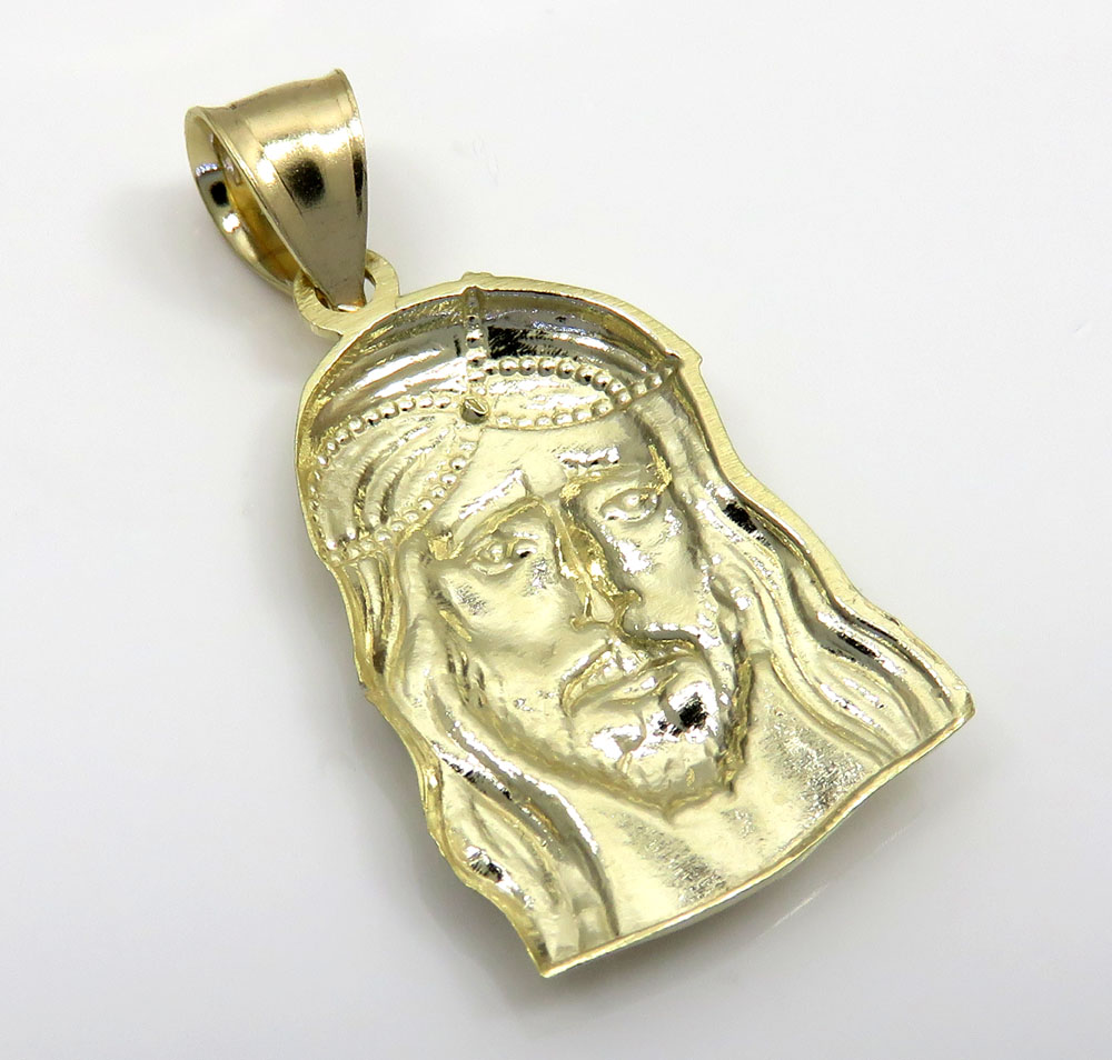 10k yellow gold small long face jesus pendant