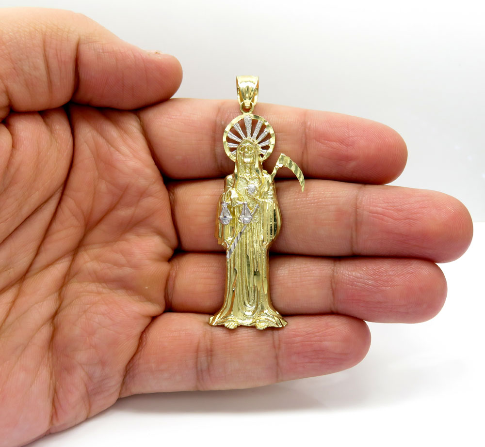10k two tone gold  halo grim reaper pendant