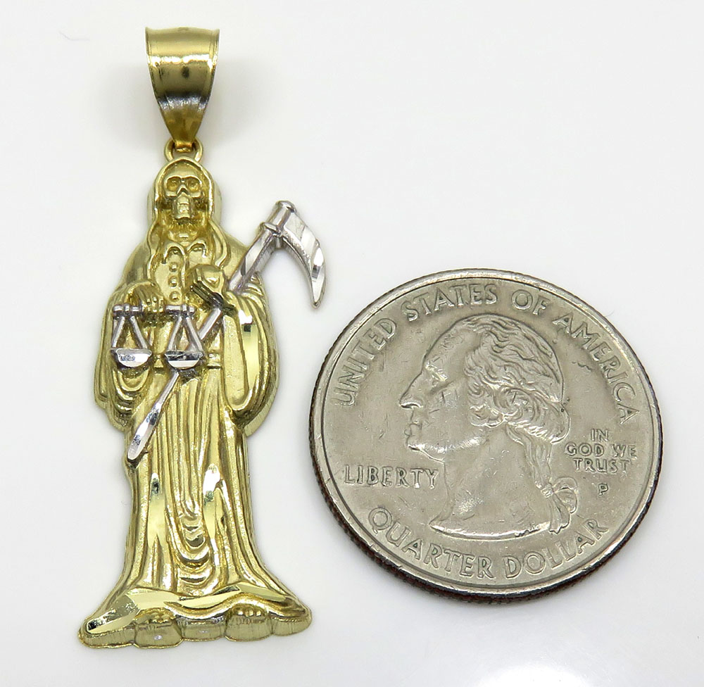 10k two tone gold medium grim reaper pendant