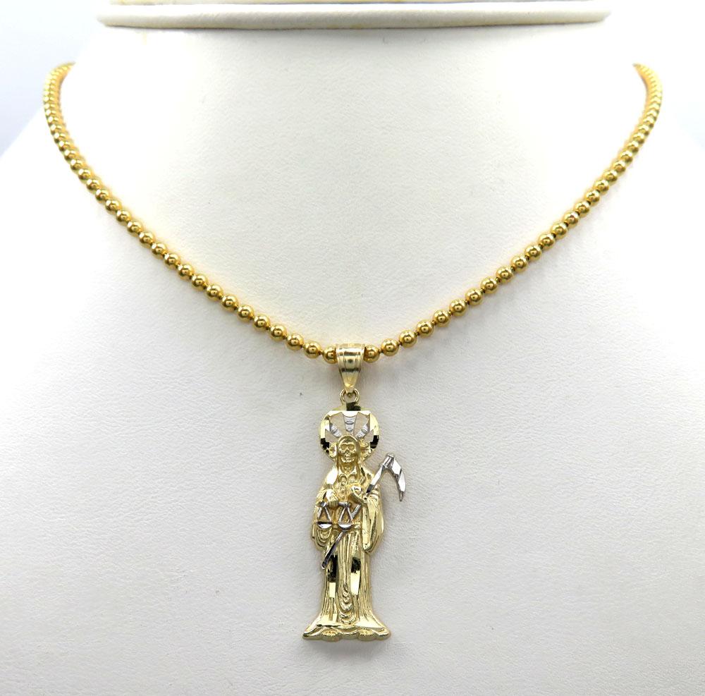 10k two tone gold small grim reaper pendant