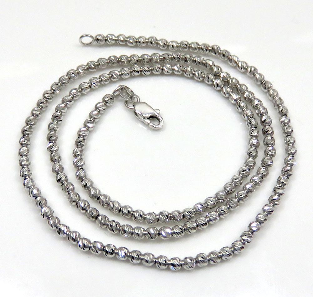 14k White Gold Diamond Cut Ball Chain 16 24 Inch 2 3mm