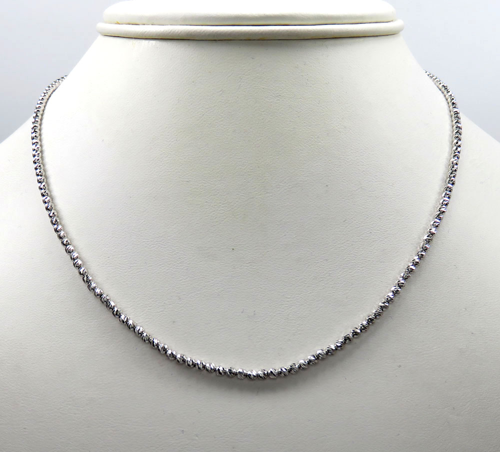 14k white gold diamond cut ball chain 16-24 inch 2.3mm