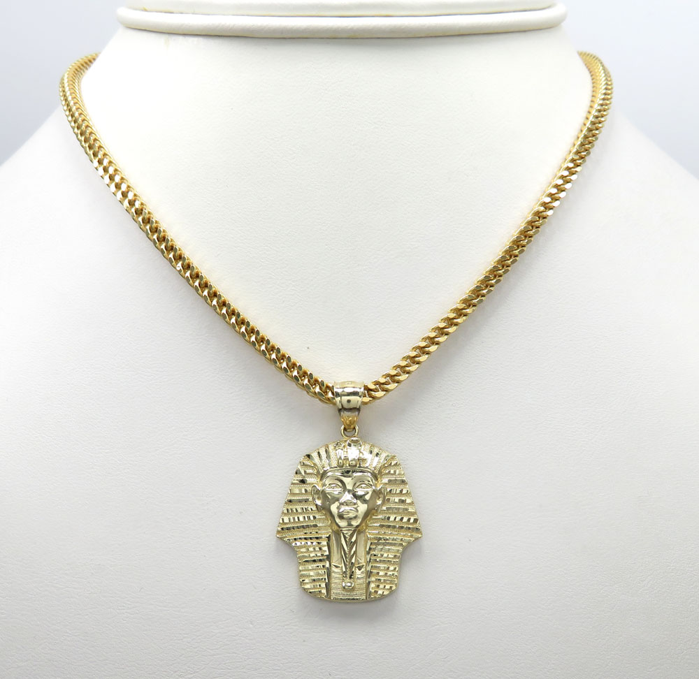 10k yellow gold diamond cut small king tut egyptian pendant