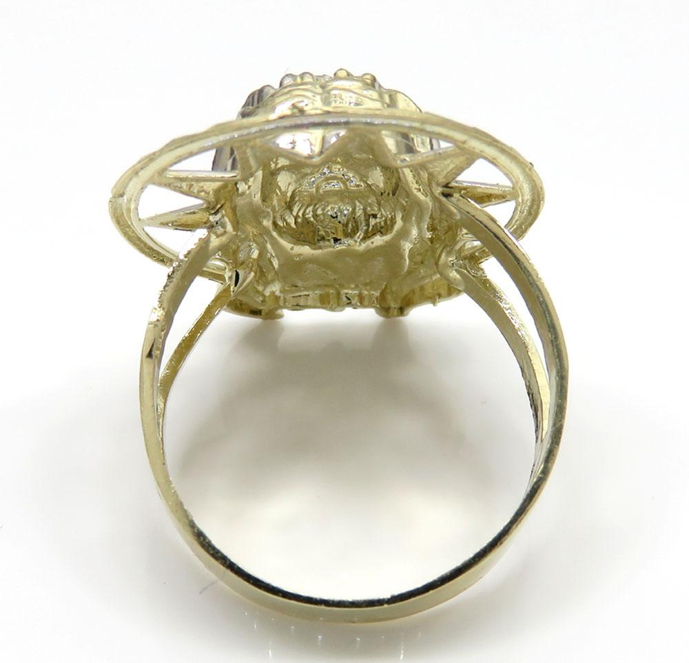 10k two tone medium diamond cut halo jesus ring