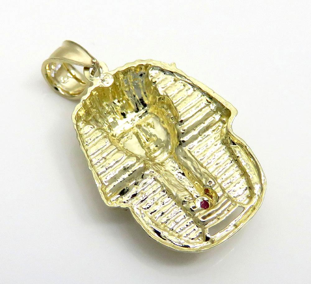10k yellow gold cz small king tut pharaoh head pendant 0.05ct