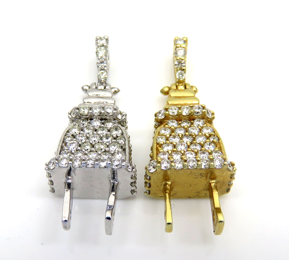 14k solid gold diamond mini plug pendant 0.50ct