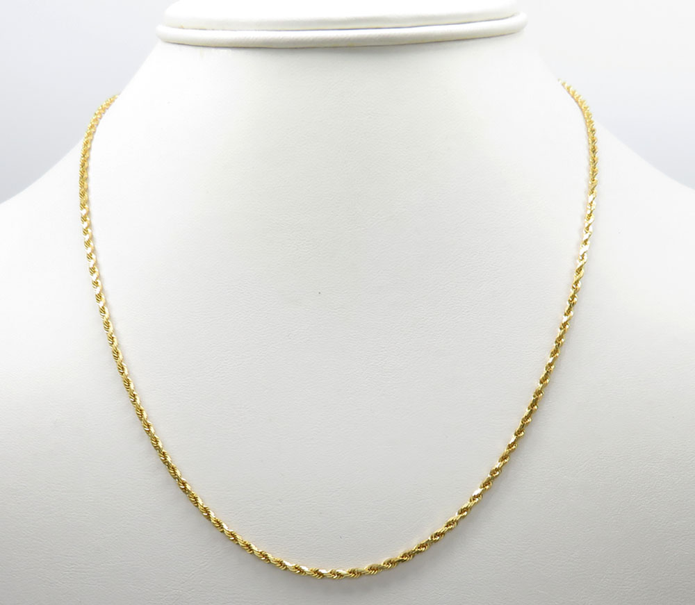 14k solid yellow gold rope chain 24 inch 2mm