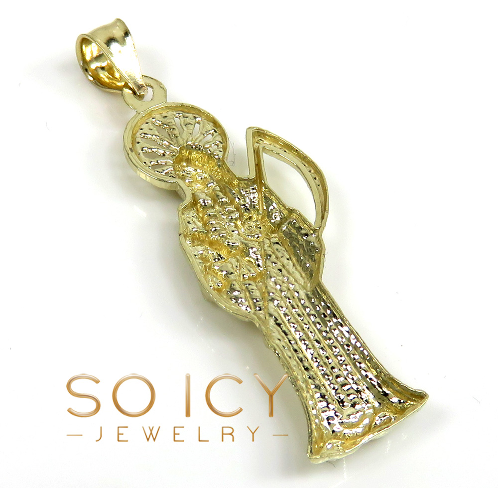 10k yellow gold small grim reaper pendant with 24 inch 2.60mm cuban chain