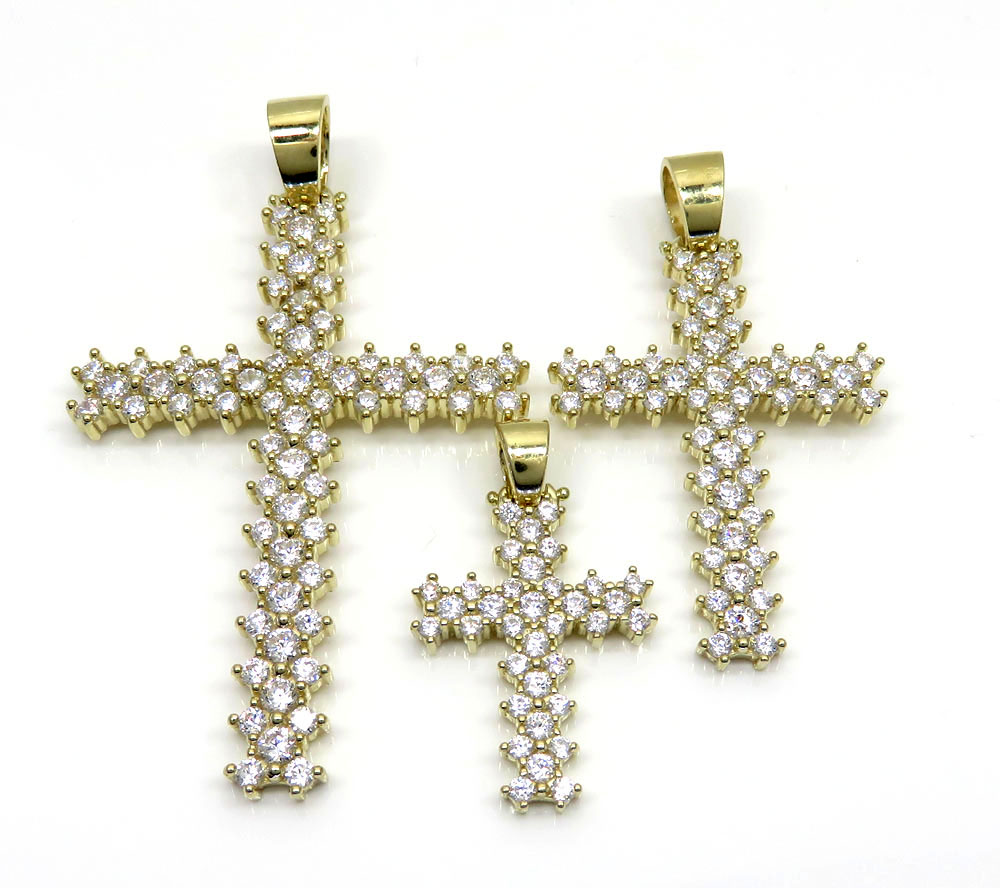 10k yellow gold large round prong cz cross 5.60ct