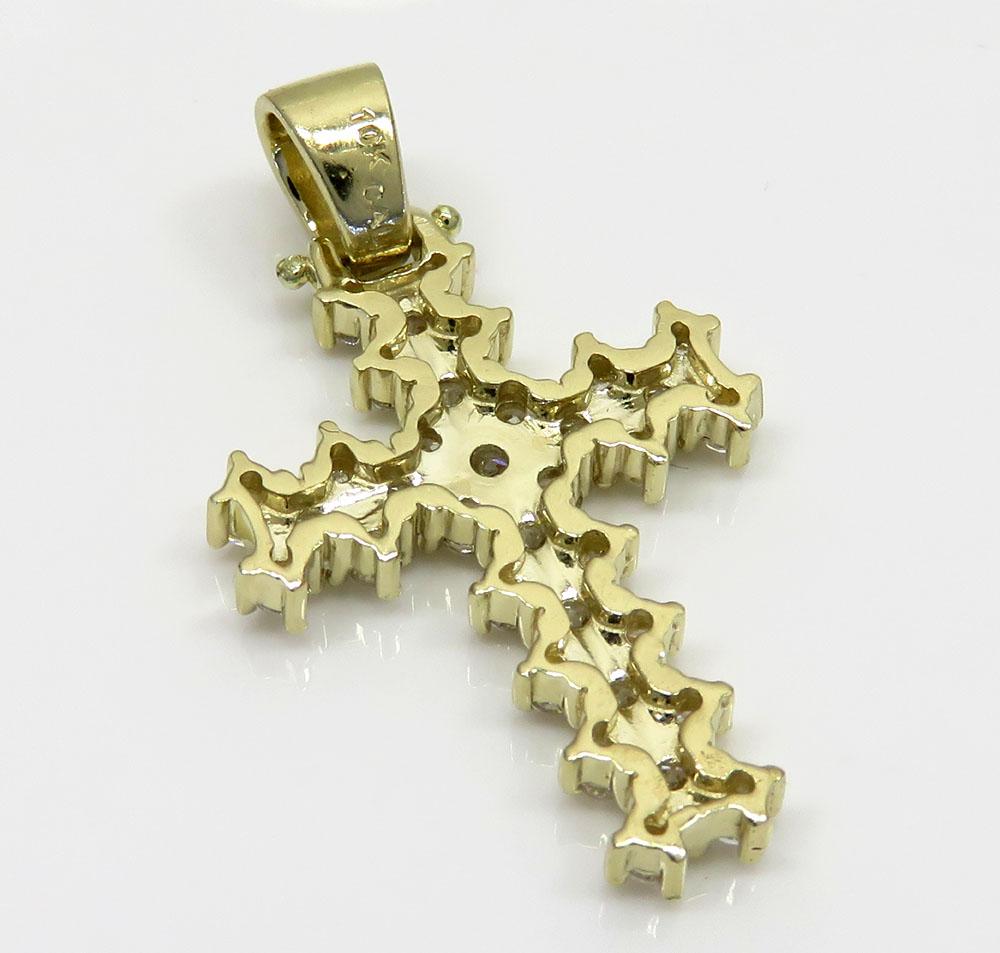 10k yellow gold small round prong cz cross 3.00ct