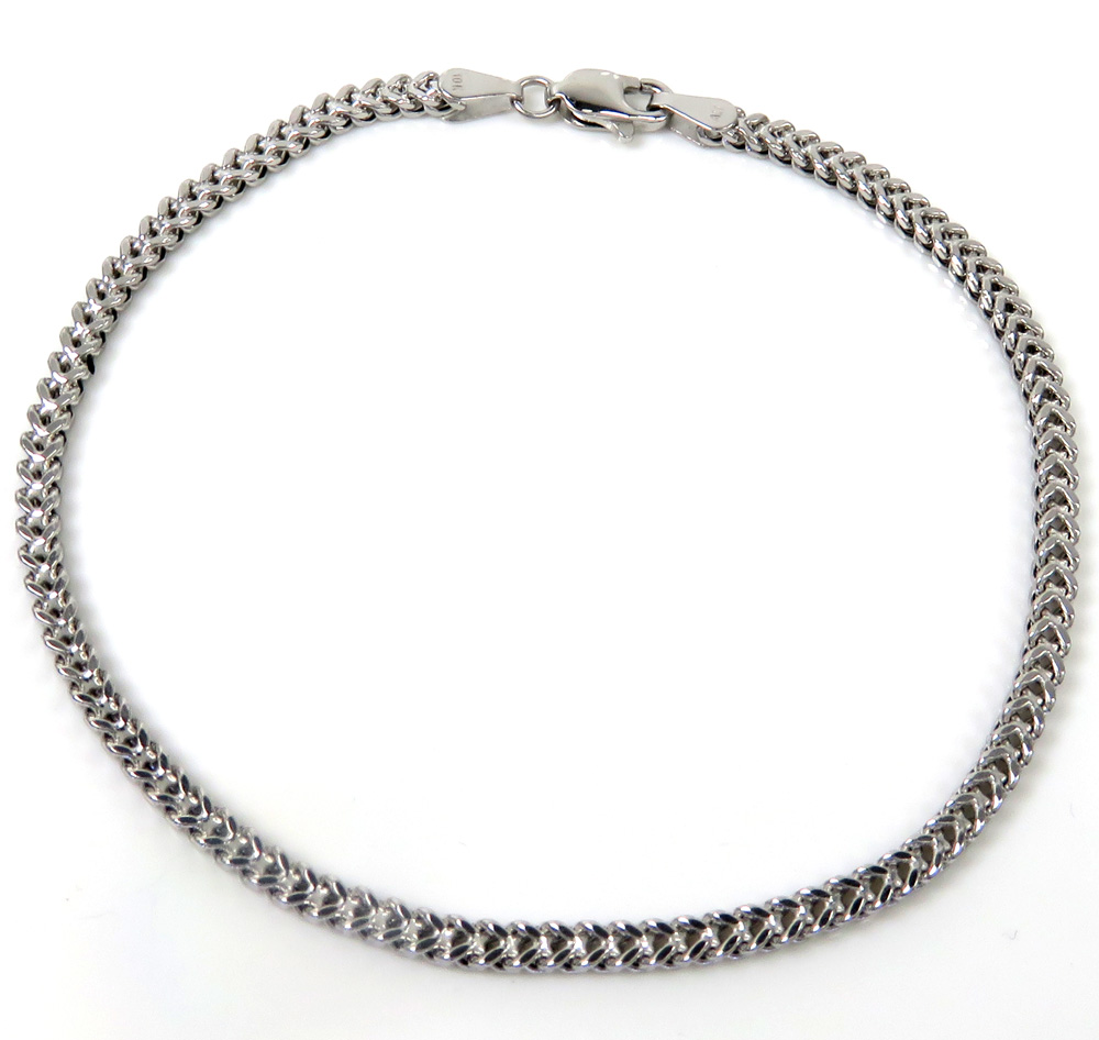 10k white gold smooth franco bracelet 8 inch 2mm