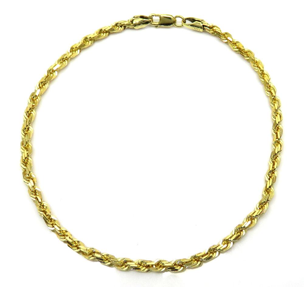 14k yellow gold solid diamond cut rope bracelet 8 50 inch 3mm