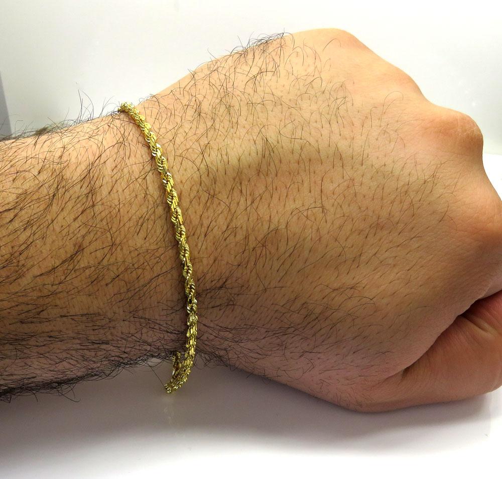 14k yellow gold solid diamond cut rope bracelet 8.50 inch 3mm