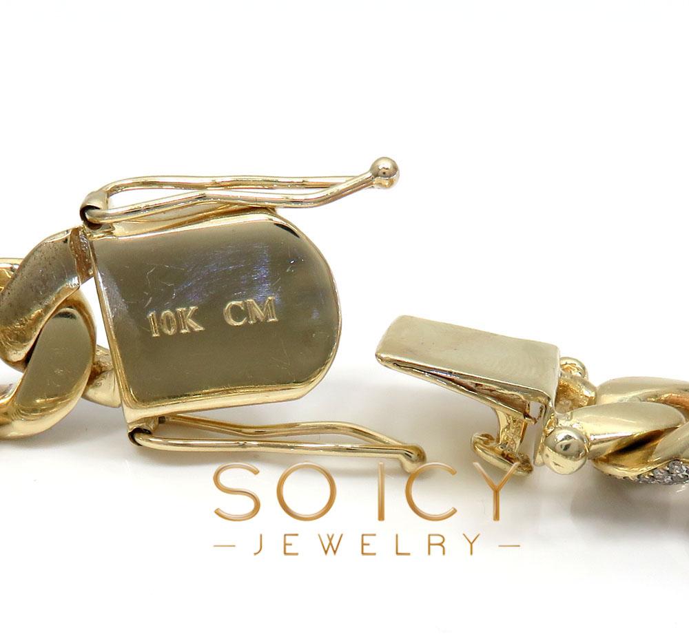 10k solid yellow gold xl diamond miami bracelet 8.50 inch 17mm 11.15ct