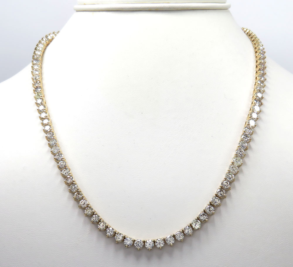 14k yellow gold 3 prong round diamond tennis link chain 27.50 inches 4.80mm 35.00ct