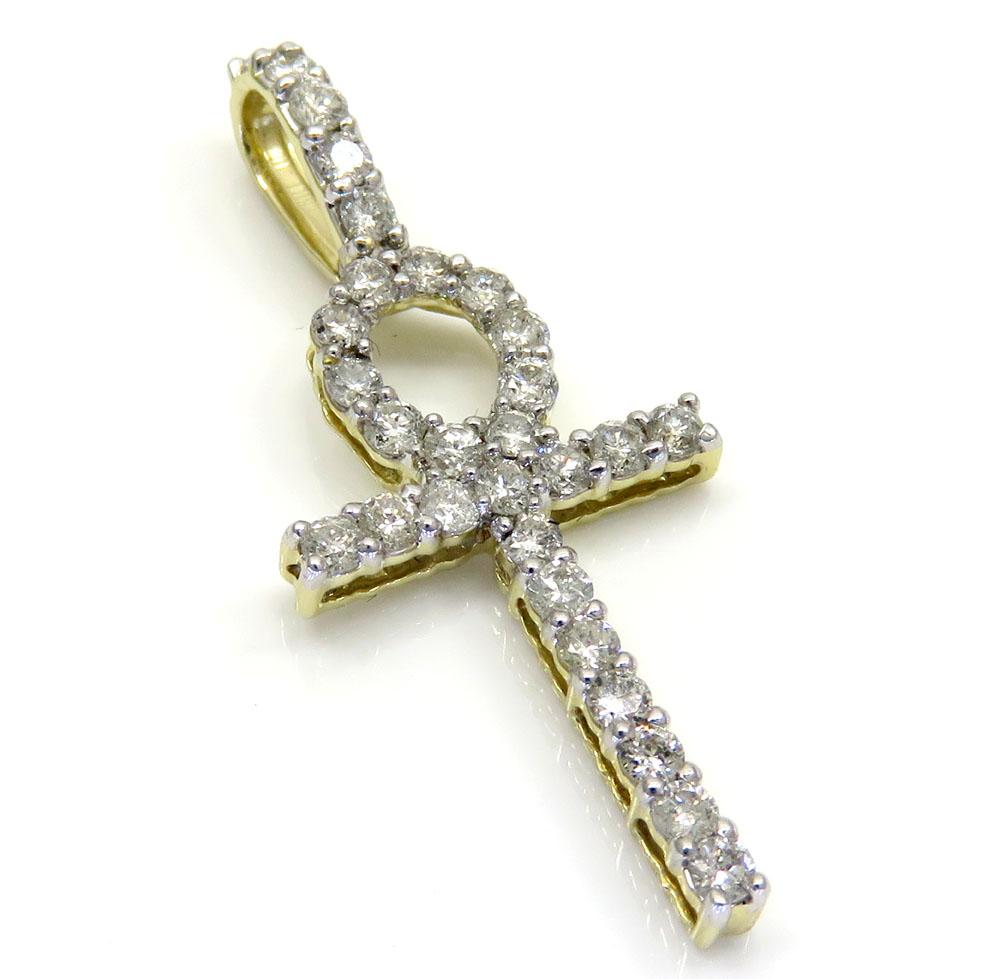 10k yellow gold twenty eight diamond small fancy ankh cross 0.80ct